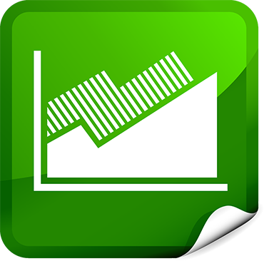 Icon that illustrates the return on investment concept, showing a graph moving upward.