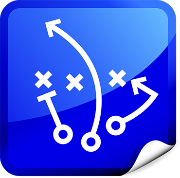 Strategy icon showing football playbook diagram