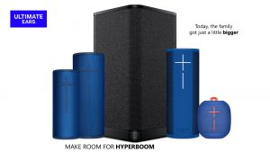 Slide showing the Ultimate Ears family of Bluetooth speakers, led by HYPERBOOM