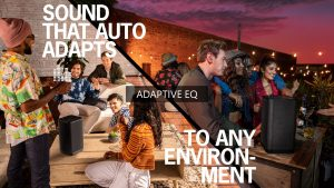 Slide illustrating Adaptive EQ the Ultimate Ears speaker feature that adapts the sound to any environment, indoors or outdoors